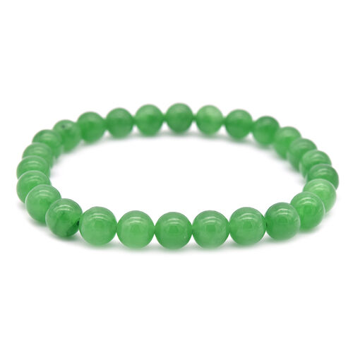 2 Piece Set -  Green Jade Stretchable Bracelet (Size 7.5) and Stud Earrings (with Push Back) in Sterling Silver 128.00 Ct.