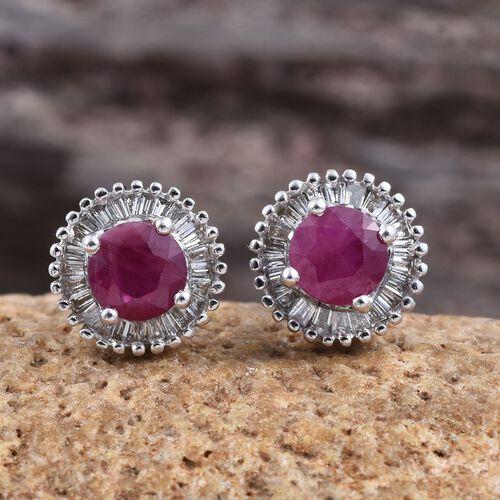 ILIANA 1.35 Ct AAAA Pigeon Blood Burmese Ruby and Diamond (SI G-H) Halo Stud Earrings in 18K White Gold
