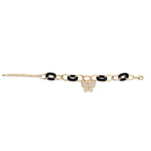 AAA White Austrian Crystal Butterfly Charm Bracelet In Gold Tone With Black Resin (Size 7.5 with Extender)