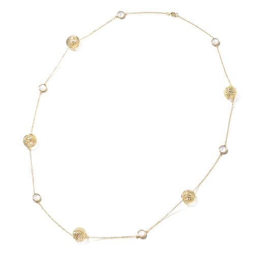 Isabella Liu - Sea Rhyme Collection - White Mother of Pearl (Rnd) Necklace (Size 33) in Yellow Gold
