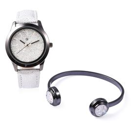 2 Piece Set - STRADA Japanese Movement Water Resistant Simulated AB Crystal Watch and Cuff Bangle (S