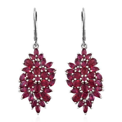 African Ruby (Pear) Lever Back Earrings in Platinum Overlay Sterling Silver 8.750 Ct. Silver wt 5.53 Gms.