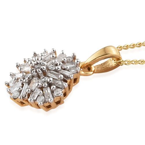 Diamond (Bgt) Pendant With Chain in 14K Gold Overlay Sterling Silver 0.200  Ct.