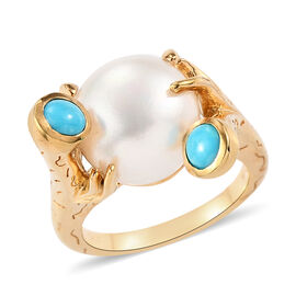 Sundays Child - Freshwater Pearl and Arizona Sleeping Beauty Turquoise Ring in 14K Gold Overlay Ster