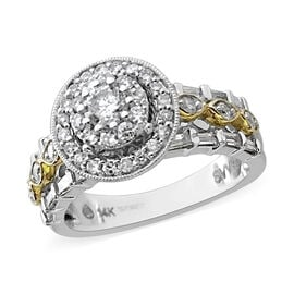 1 Carat Diamond Cluster Ring in 14K White and Yellow Gold 6.50 Grams I1 I2 GH