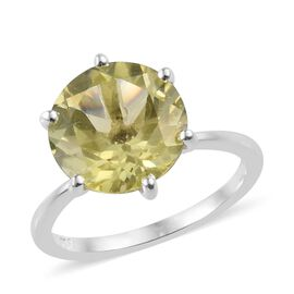 4 Carat Lemon Quartz Solitaire Ring in Sterling Silver