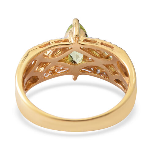 Hebei Peridot (Mrq 1.82 Ct), Natural Cambodian White Zircon Ring in Yellow Gold and Rhodium Overlay Sterling Silver 2.540 Ct.