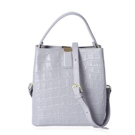 Hongkong Close Out-100% Genuine Leather Grey Colour Croc Embossed Satchel Bag with Removable Shoulde