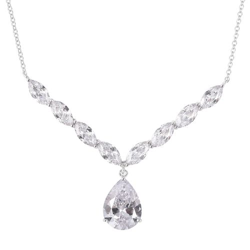 ELANZA Simulated Diamond Necklace in Rhodium Plated Silver 7.16 Grams 18 Inch