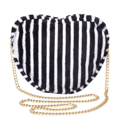 Black and White Striped Faux Fur Heart-Shaped Crossbody Bag with Chain Shoulder Strap in Gold Tone