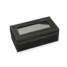 Leather Hide Watch Box with Three Section Watch Cushion (Size 21x11x7.5 Cm) - Black