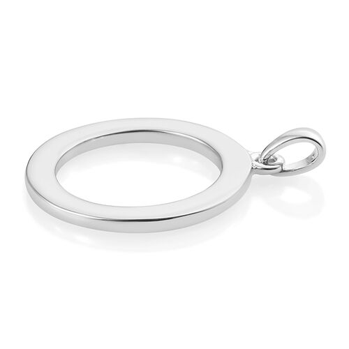 Platinum Overlay Sterling Silver Circle Pendant, Silver wt 3.84 Gms.