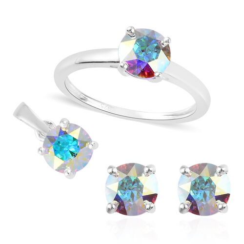 3 Piece Set - J Francis Crystal from Swarovski AB Crystal Solitaire Ring, Pendant and Earrings in St