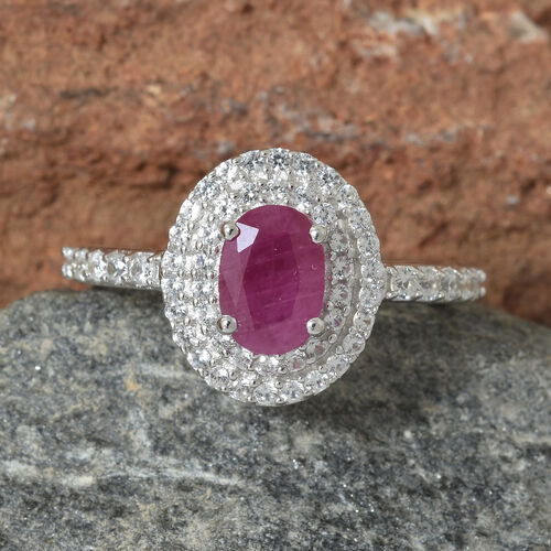 9K White Gold Burmese Ruby (Ovl), Natural Cambodian Zircon Ring 1.500 Ct.