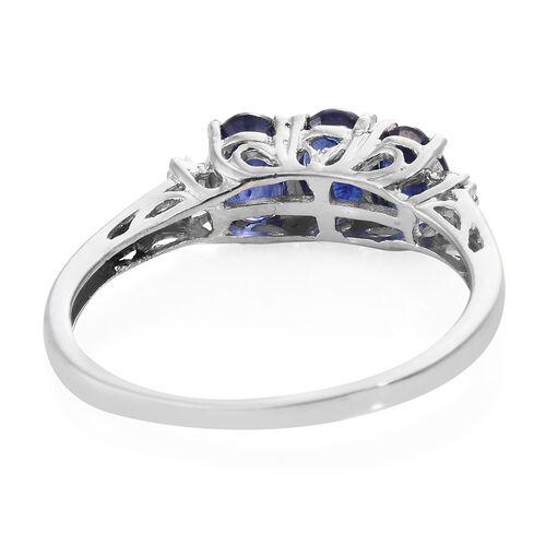 Masoala Sapphire (Ovl), Diamond Ring in Platinum Overlay Sterling Silver 2.000 Ct.