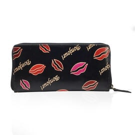 Sukriti 100% Genuine Leather Black Colour Bonjour (Hello) and Lip Pattern Wallet with RFID Blocking