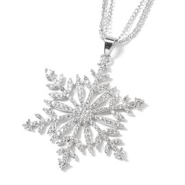 White Austrian Crystal (Rnd) Snowflake Pendant With Chain in Silver Tone