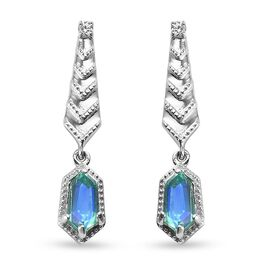 Peacock Triplet Quartz and Natural Cambodian Zircon Earrings (with Push Back) in Platinum Overlay St