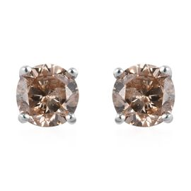 9K White Gold SGL Certified Natural Champagne Diamond (I3) Stud Earrings (with Push Back) 0.50 Ct.