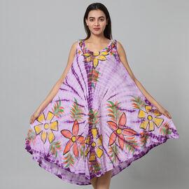 Tie & Dye Purple Umbrella Dress in Floral Pattern (Size upto 20)  - 120cm/47in