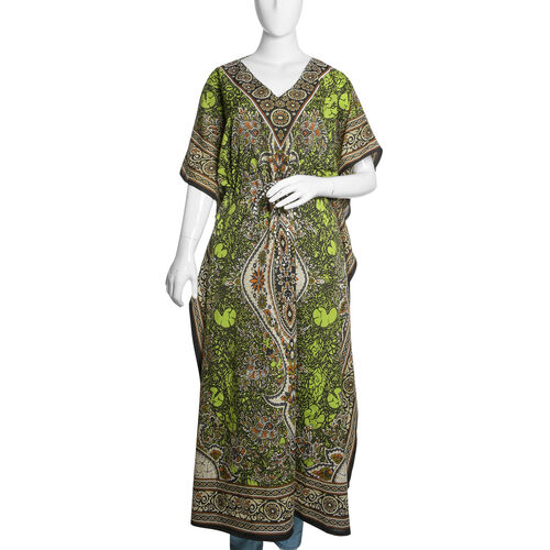 Green, Brown and Multi Colour Damask Printed Kaftan (Free Size)