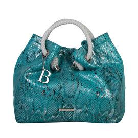 Bulaggi Collection - Jade Snake Print Handbag (Size 28x27x14 Cm) - Turquoise