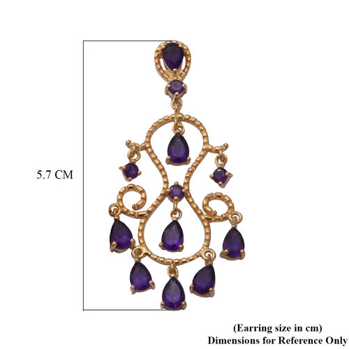 Lusaka Amethyst Dangle Earrings (with Push Back) in Yellow Gold Overlay Sterling Silver 6.88 Ct, Silver wt. 7.20 Gms