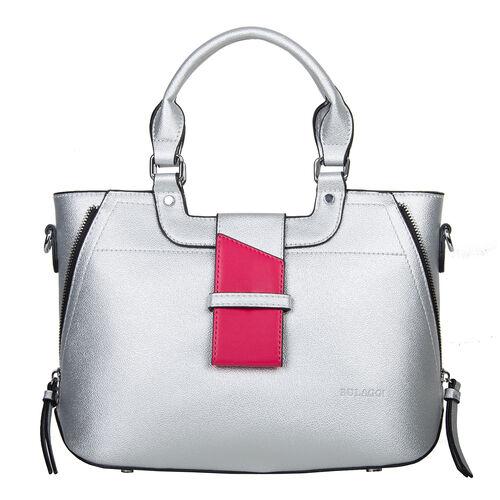 Bulaggi Collection - GOLDIE Handbag with Decorative Pink Band, Shoulder Strap and Zipper Closure (30