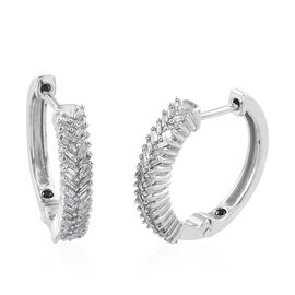GP 0.56 Ct Diamond and Kanchanaburi Blue Sapphire Hoop Earrings in Sterling Silver 5.5 Grams