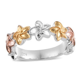 Rose and Yellow Gold and Platinum Overlay Sterling Silver Floral Ring