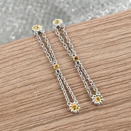 GP Italian Garden Collection - Yellow Diamond and Kanchanaburi Blue Sapphire Earrings in Platinum Overlay Sterling Silver  0.15  Ct.
