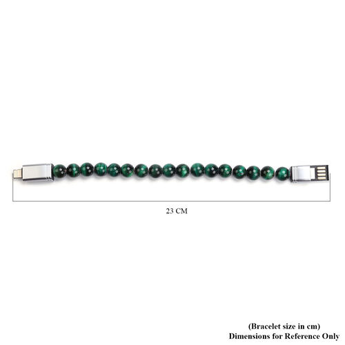 Green Tiger Eye Beads Bracelet (Size 7.75) with Micro USB Cable in Silver Tone 75.00 Ct.