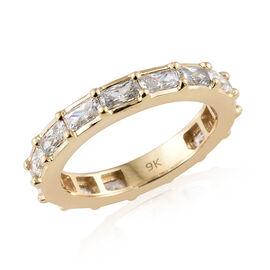 J Francis Made with Swarovski Zirconia Eternity Band Ring in 9K Gold 3.04 Grams