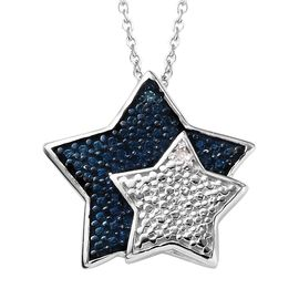 White and Blue Diamond (Rnd) Star Pendant with Chain (Size 20) in Platinum and Blue Overlay Sterling