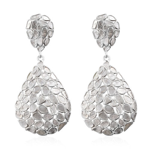 Artisan Crafted Polki Diamond Drop Earrings (with Push Back) in Platinum Overlay Sterling Silver 4.00 Ct, Silver wt 5.90 Gms