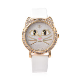 STRADA Japanese Movement White Austrian Crystal Studded Kitty Face Dial Water Resistant Watch with W