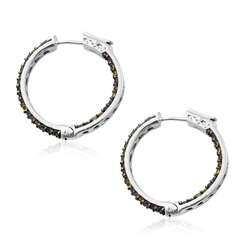 Multi Sapphire (Rnd) Hoop Earrings in Platinum Overlay Sterling Silver 4.000 Ct. Silver wt. 8.24 Gms. Number of Gemstones 120