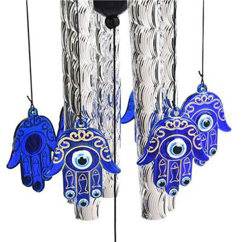 Hamsa (The Palm) and Evil Eye Wind Chime (Size 13x81cm) - Silver