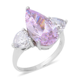 ELANZA Swiss Star Simulated Sapphire and Simulated Diamond Trilogy Ring in Rhodium Plated Silver