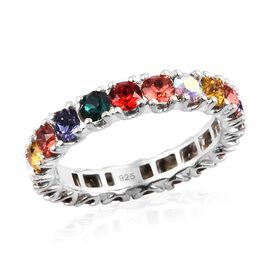 J Francis - Crystal from Swarovski Multi Crystal (Rnd) Eternity Band Ring in Sterling Silver