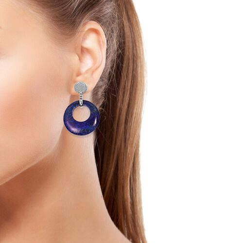 Lapis Lazuli Clip - On Earrings in Stainless Steel 35.000 Ct.