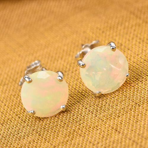 9K White Gold Ethiopian Welo Opal Solitaire Earrings (with Push Back) 1.50 Ct.