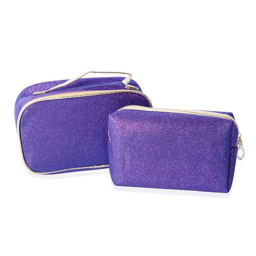 Set of 2 - Purple Colour Water Resistant Cosmetic Bags with Multi Functional (Size 18x10x6 and 20x12.5x7.5 Cm)