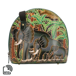 SUKRITI 100% Genuine Leather RFID Protected Elephant Family Round Crossbody Bag with Adjustable Shou