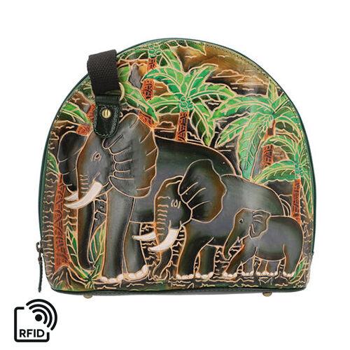 SUKRITI 100% Genuine Leather RFID Protected Elephant Family Round Crossbody Bag with Adjustable Shou