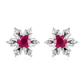 AA African Ruby and Natural Cambodian Zircon Snowflake Stud Earrings (with Push Back) in Platinum Ov