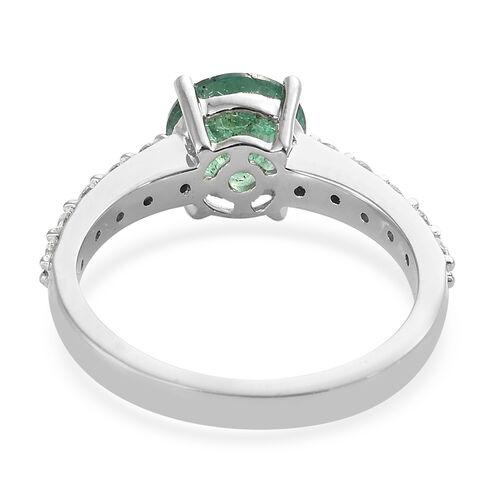 Signature Collection- RHAPSODY 950 Platinum AAAA Kagem Zambian Emerald (Rnd), Diamond (VS/E-F) Ring 1.650 Ct.