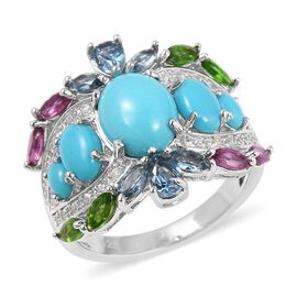 Arizona Sleeping Beauty Turquoise (Ovl), London Blue Topaz, Russian Diopside, Rhodolite Garnet and Natural White Cambodian Zircon Ring in Rhodium Overlay Sterling Silver 4.200 Ct.