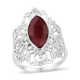 Enhanced Ruby (Mrq) Filigree Ring in Sterling Silver 4.83 Ct.