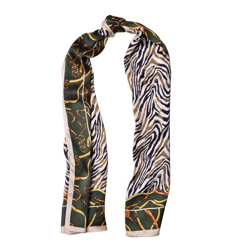 Designer Inspired - 100% Mulberry Silk Olive Green and Multi Colour Zebra Stripes Pattern Scarf (Size 170x52) Finish Silk 50 Gram